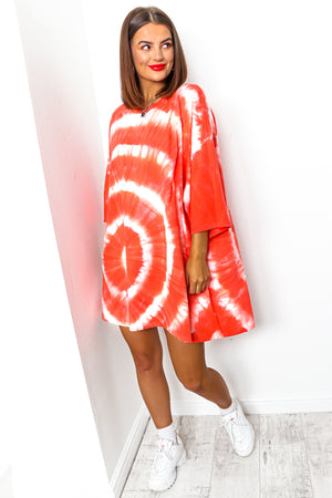 Coral tie dye t-shirt dress