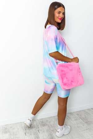 Blue and pink tie dye cycle short coordinate set