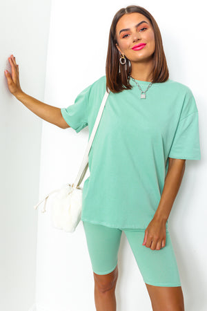 Mint cycle shorts coordinate set