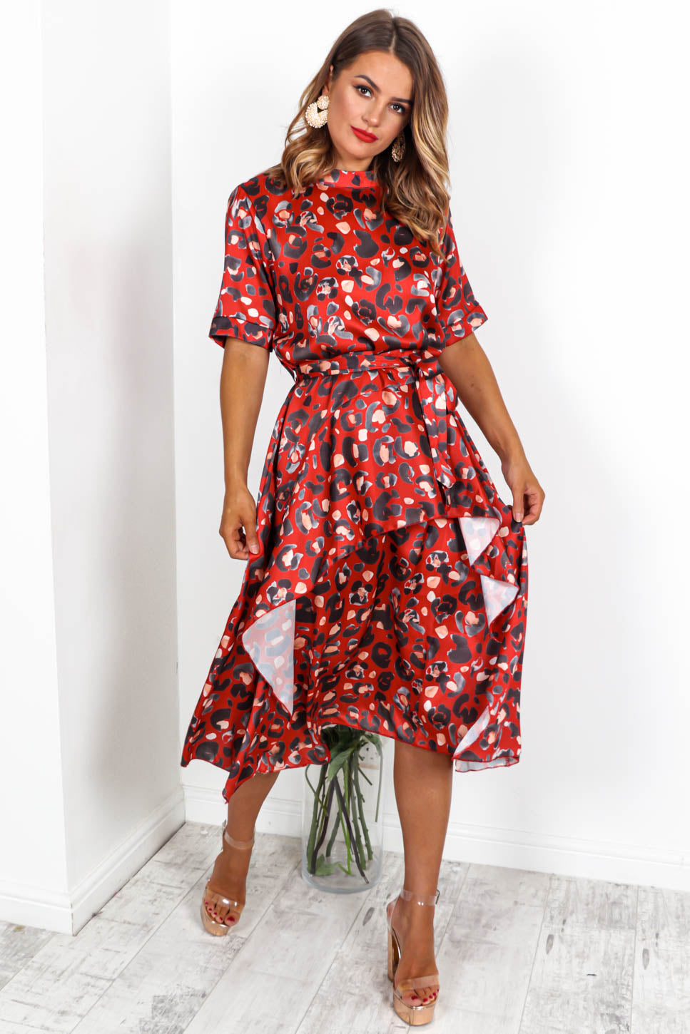 Sweet Wild Of Mine - Midi Dress In LEOPARD/RED