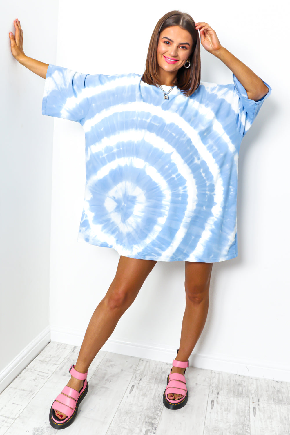 Blue tie dye t-shirt dress