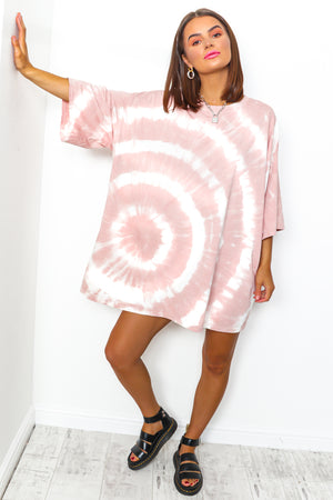 Blush tie dye t-shirt dress