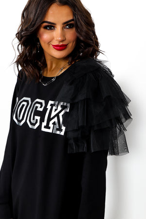Rock Chick - Jumper Dress In BLACK