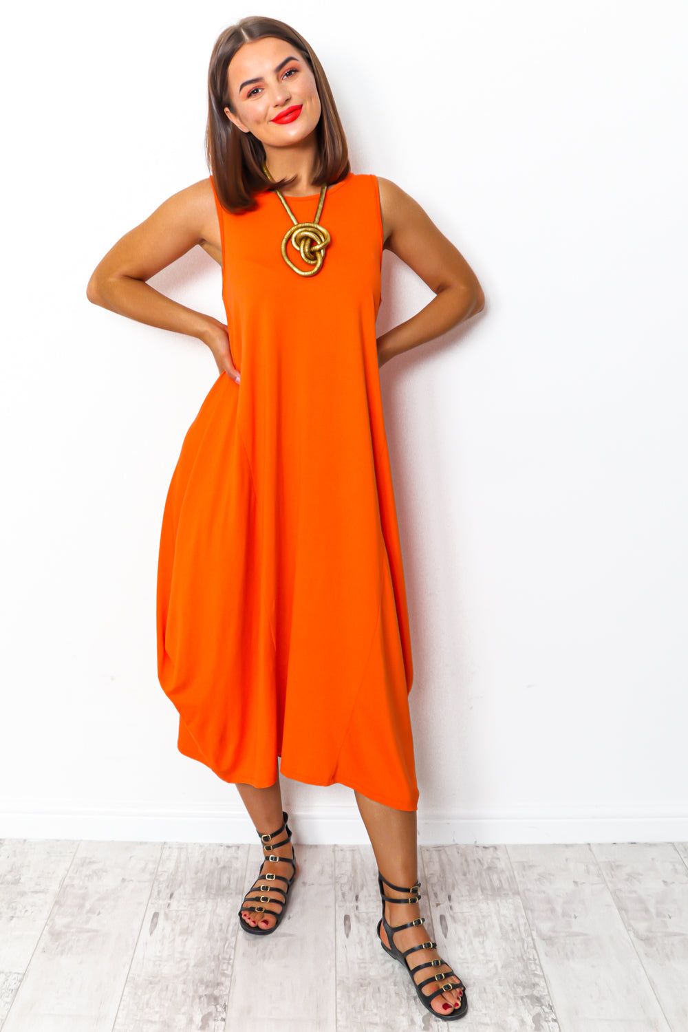 Orange tie dye maxi parachute dress