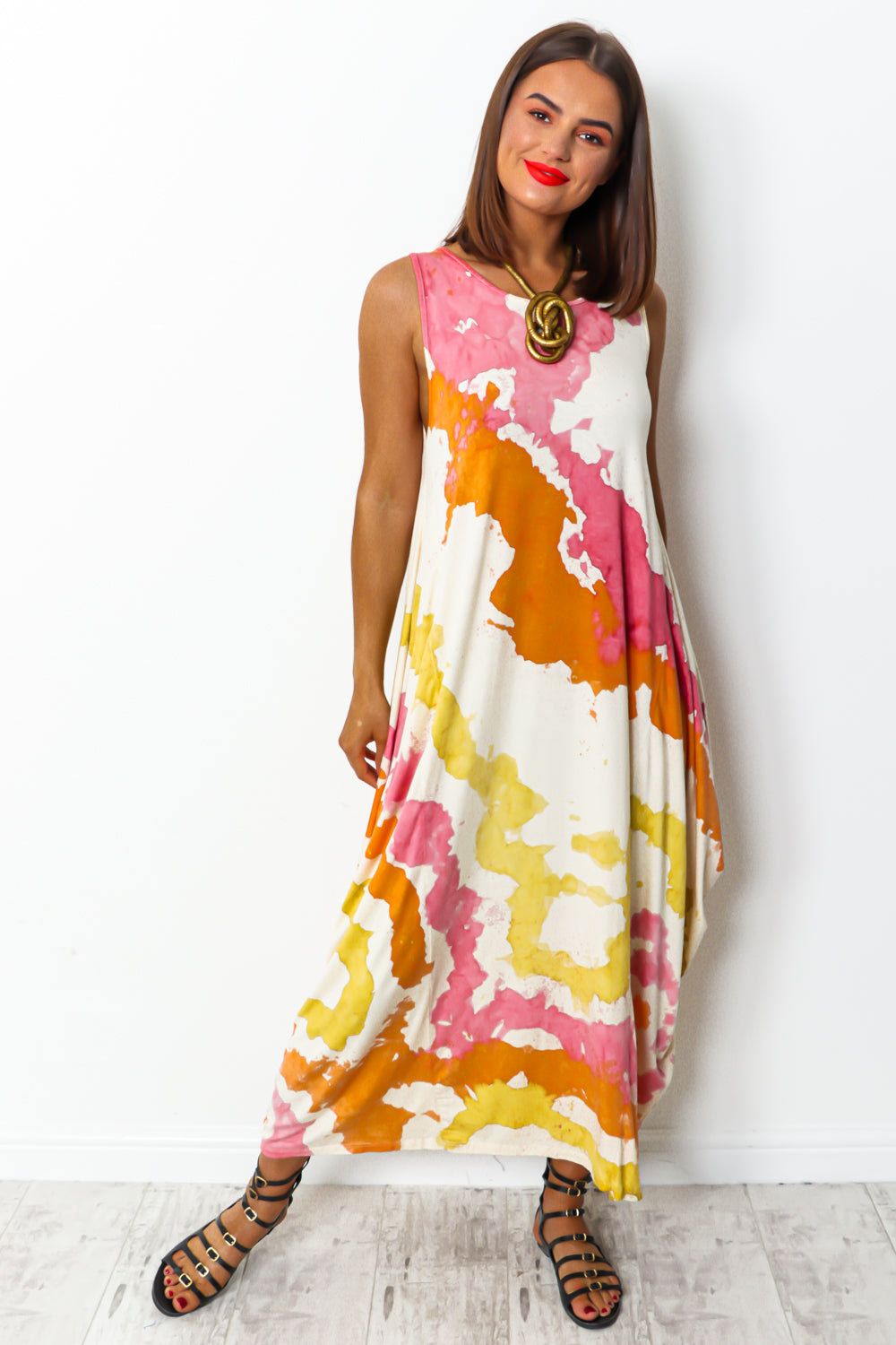 Pink orange yellow tie dye maxi parachute dress