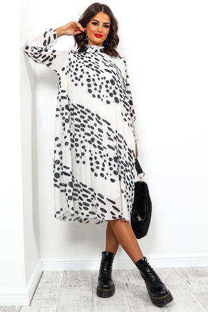 Feeling Feisty - Dress In WHITE/SPOT