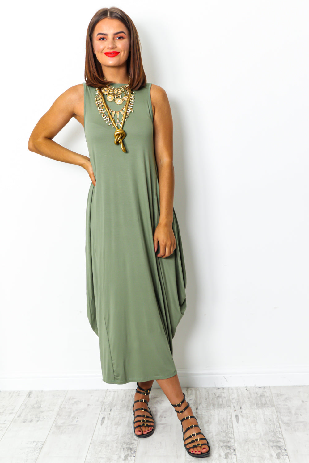Khaki tie dye maxi parachute dress