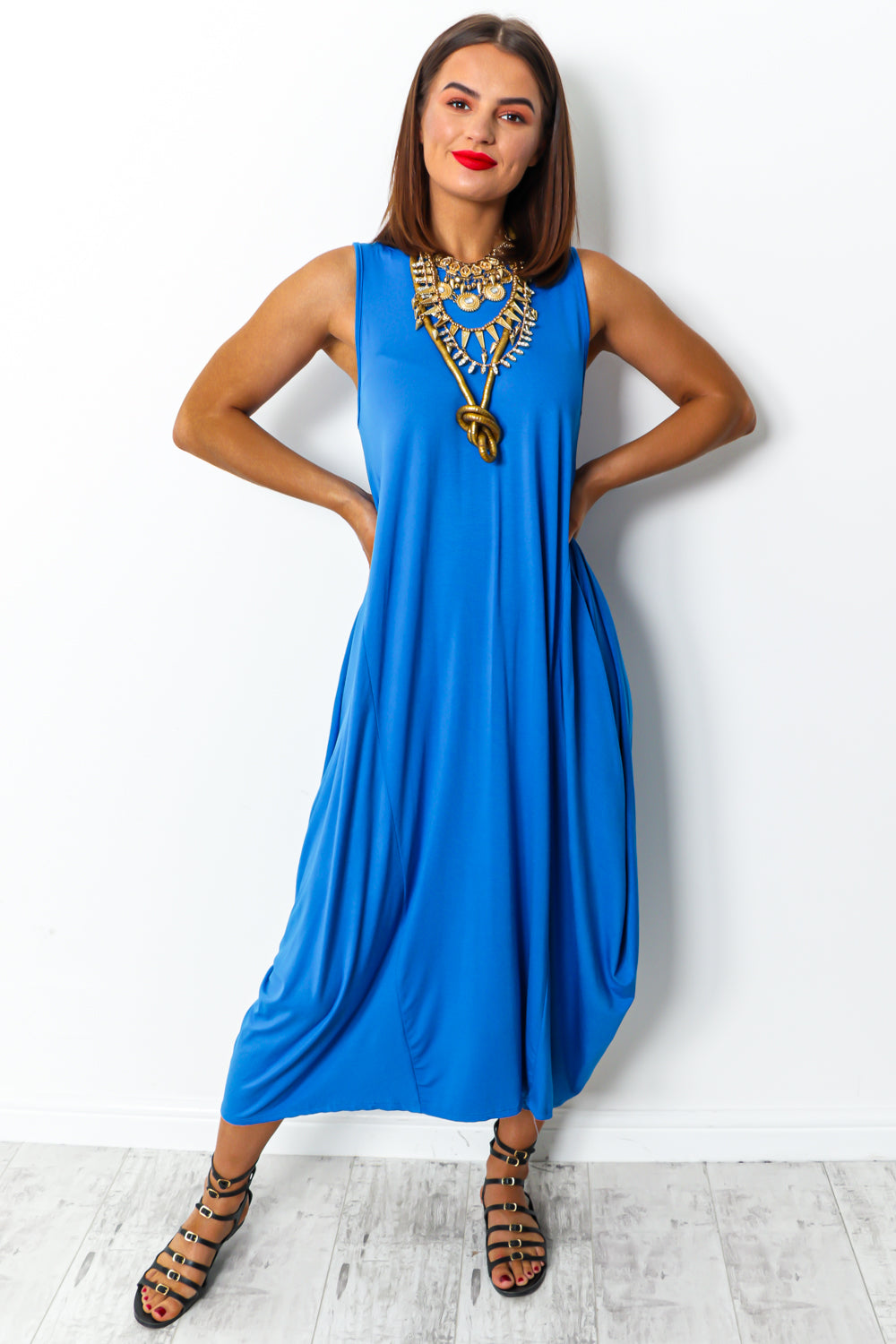 Royal blue tie dye maxi parachute dress