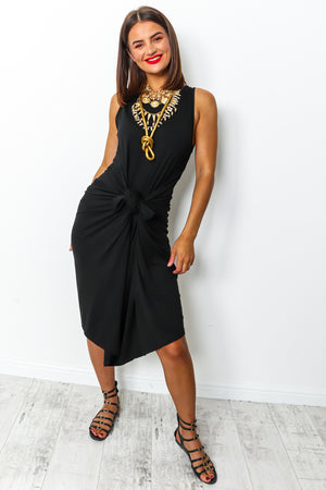 Black maxi parachute dress