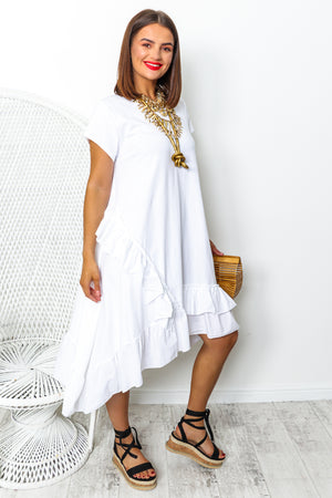 White ruffle midi dress