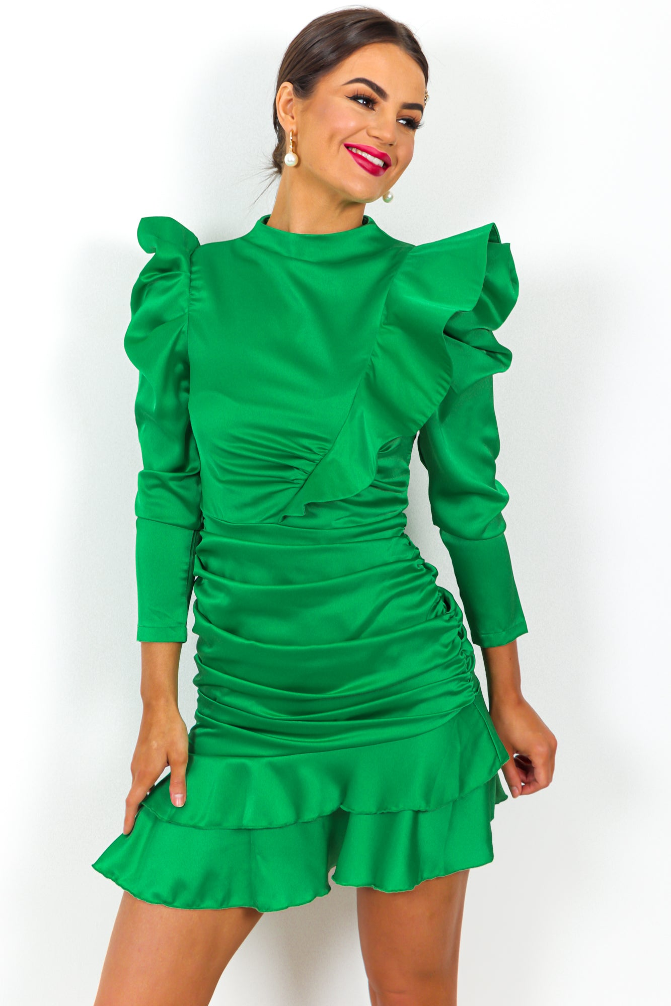 Ruche Hour - Dress In GREEN