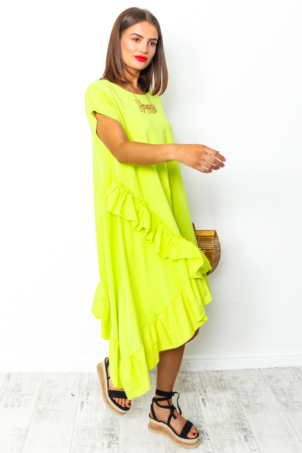 Lime green ruffle midi dress