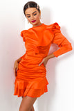 Ruche Hour - Dress In ORANGE