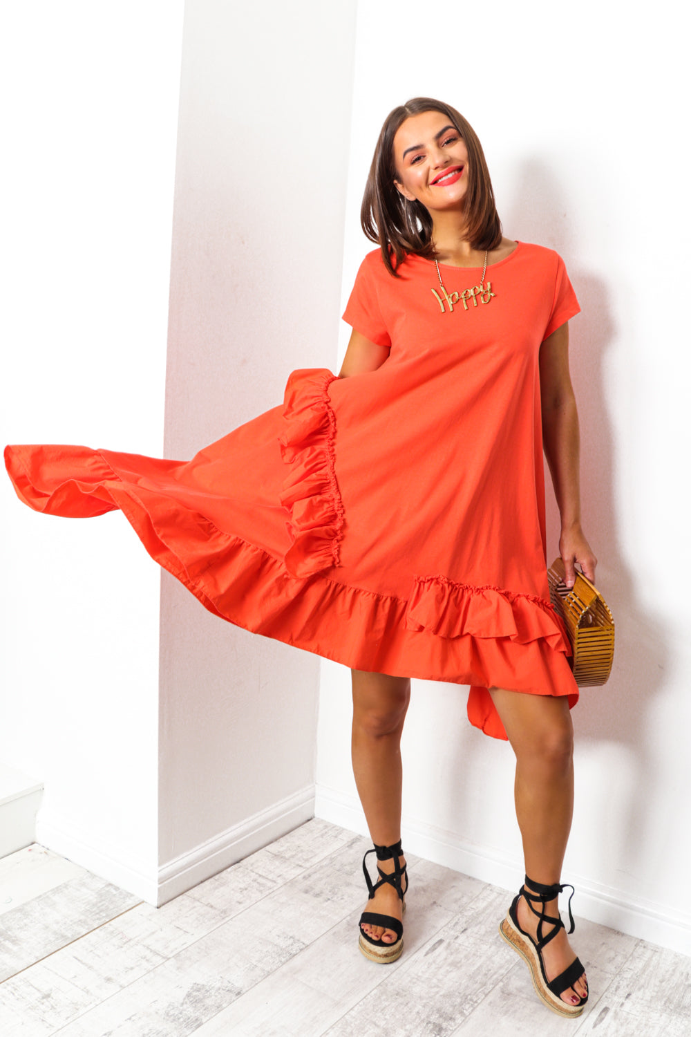 Coral ruffle midi dress