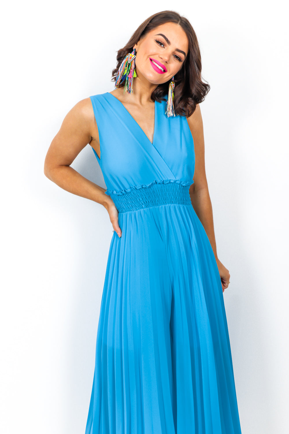 Flare She Goes - Jumpsuit In BLUE