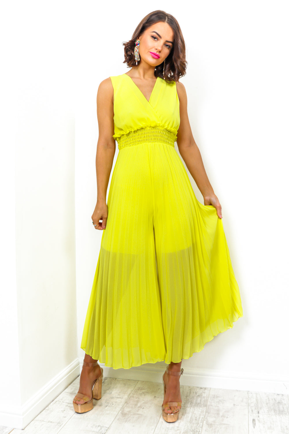 Flare She Goes - Jumpsuit In LEMON