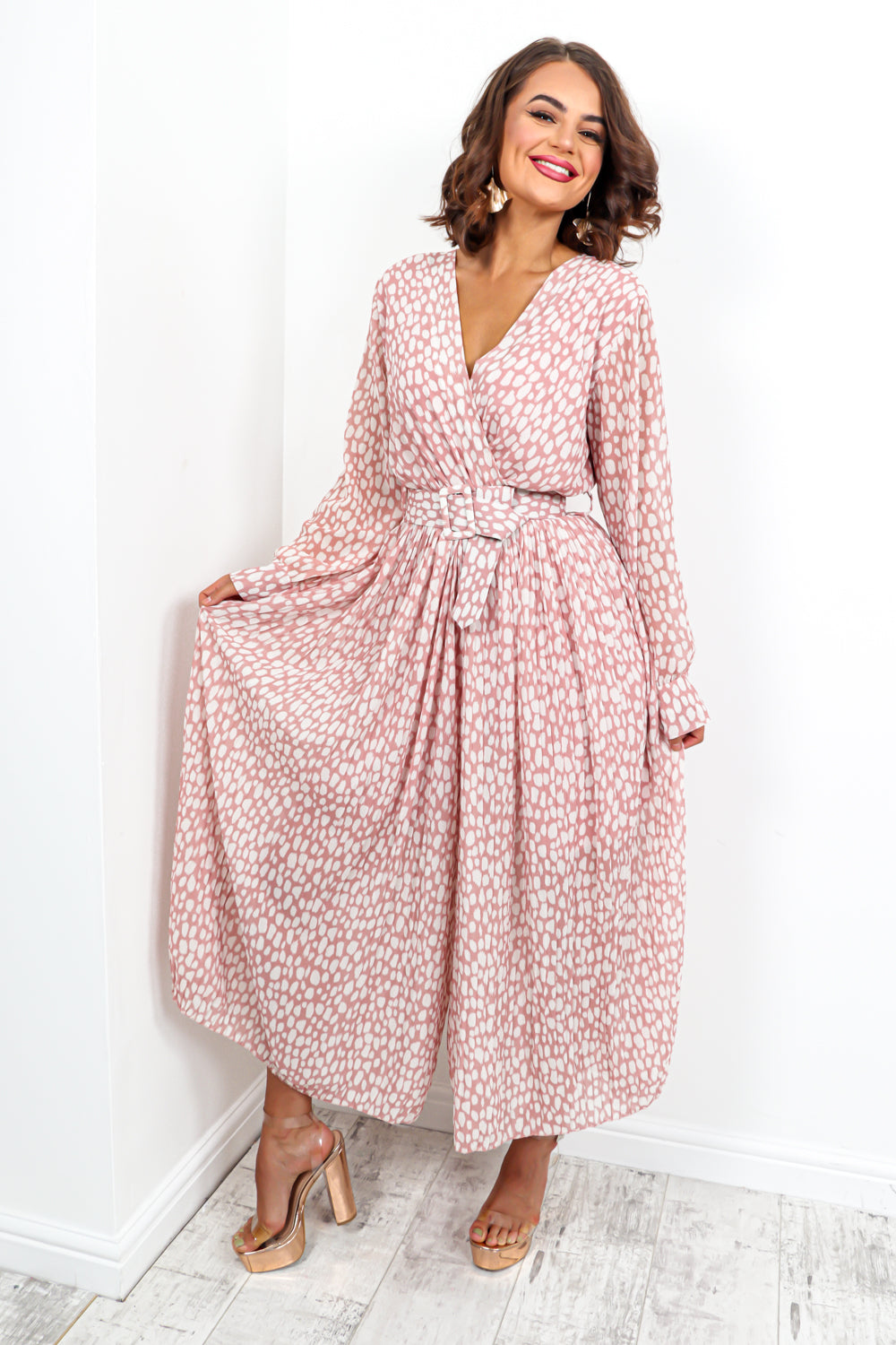 The Pleat Is On - Jumpsuit In BLUSH/PRINT
