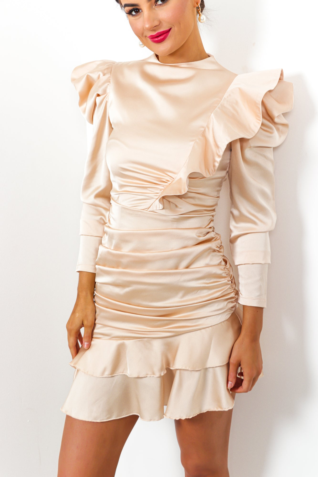 Ruche Hour - Dress In CHAMPAGNE