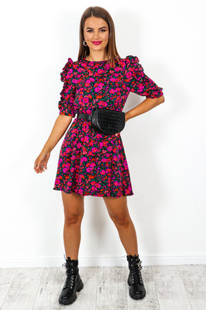I'd Pick You - Fuchsia Multi Floral Mini Dress
