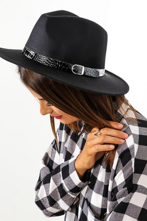 In Croc - Black Silver Buckle Fedora Hat