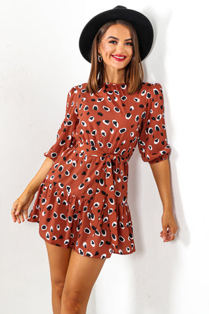 In The Meow-ment - Copper Leopard Print Mini Dress