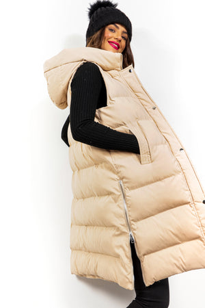 Into The Warm - Beige Long Gilet