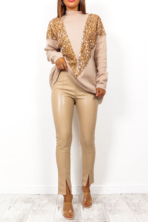 It's Now Or Leather - Beige Split Leg Faux Leather Trousers