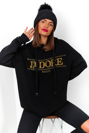 Jadore Paris - Black Gold Rhinestone Knitted Hoodie