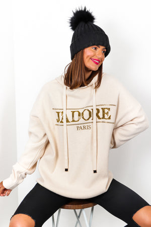 Jadore Paris - Cream Gold Rhinestone Knitted Hoodie