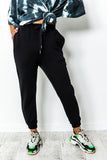 Black drawstring jogging pants