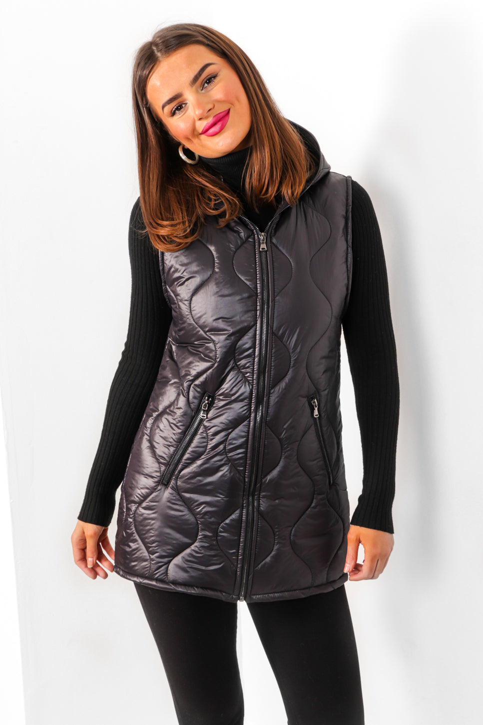 Joint At The Zip - Black Quilted Gilet