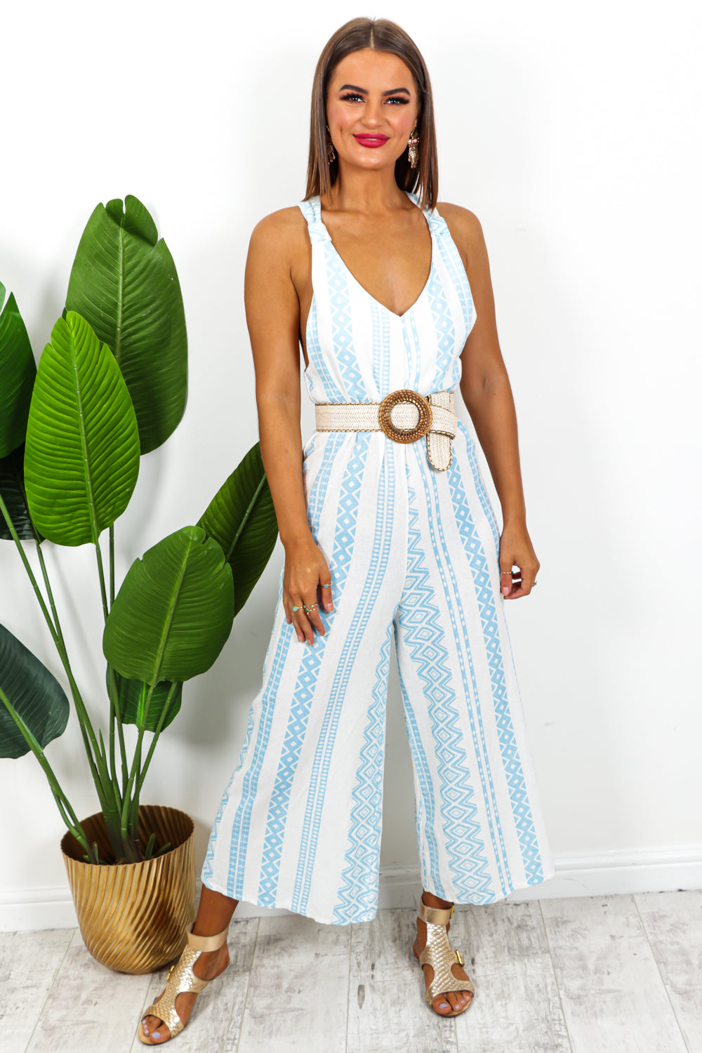 Blue And White Aztec Jumpsuit DLSB Womens Fashion