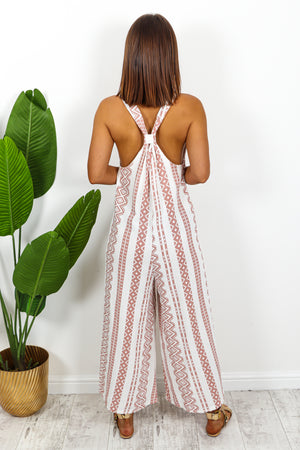 Nude And White Aztec Jumpsuit DLSB Womens Fashion