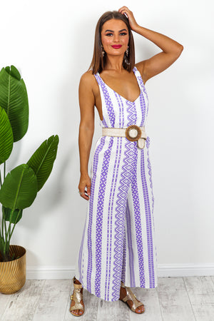 Lilac And White Aztec Jumpsuit DLSB Womens Fashion