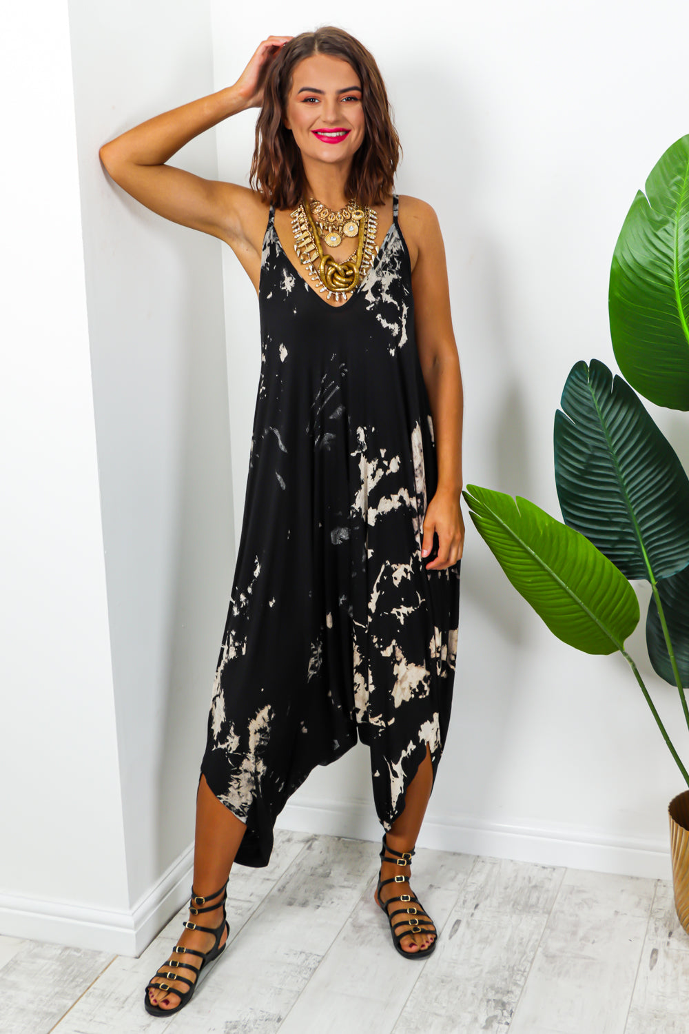 Loose fit jumpsuit black print - DLSB womens fashion