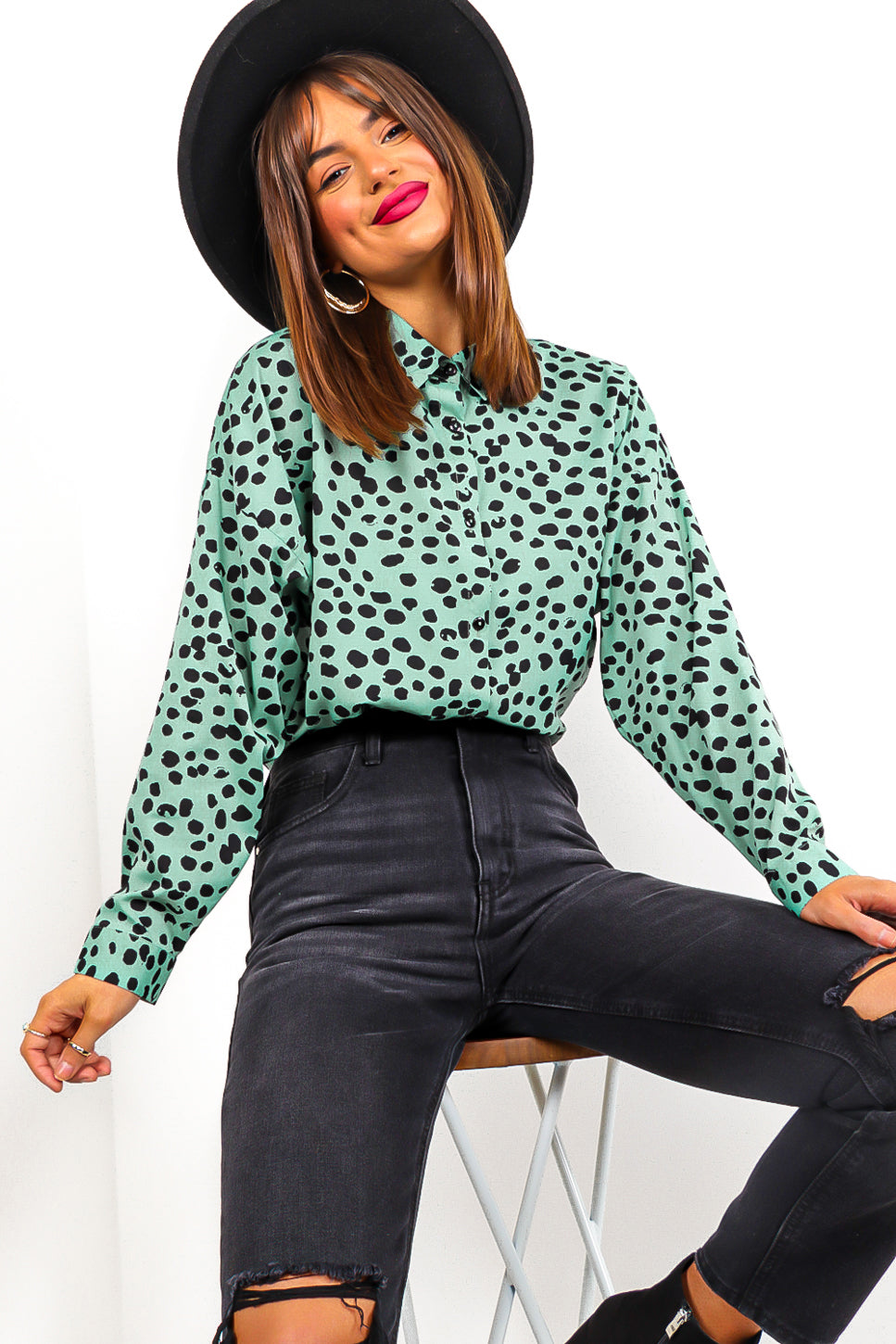 Just A Dream - Mint Black Print Shirt
