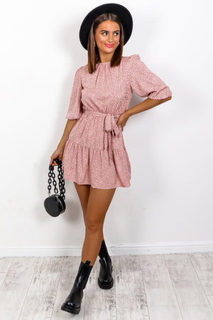 Just A Mini - Pink Black Printed Mini Dress