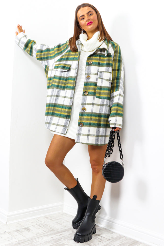 Just A Trend - Green Yellow Check Shacket