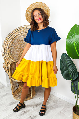 Navy Mustard Frill Hem Smock Dress