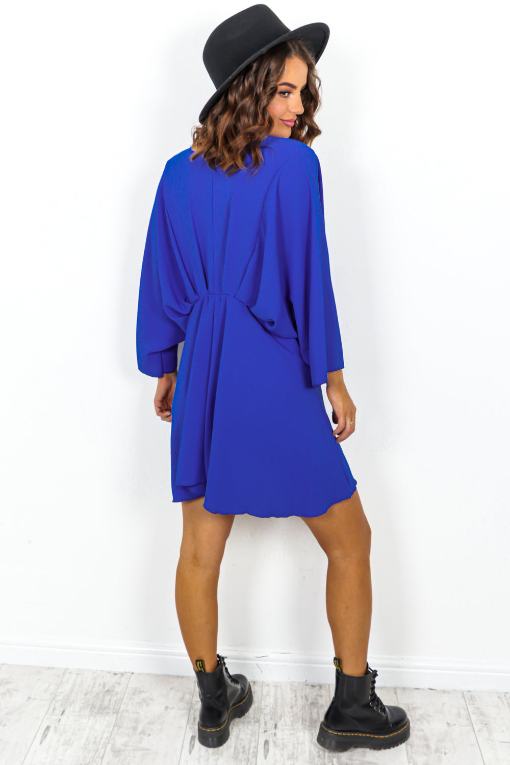 Cobalt Batwing Mini Dress