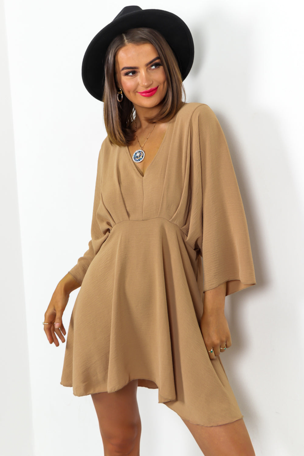 Camel Batwing Mini Dress