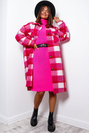 Keep You In Check - Pink Red Longline Shacket
