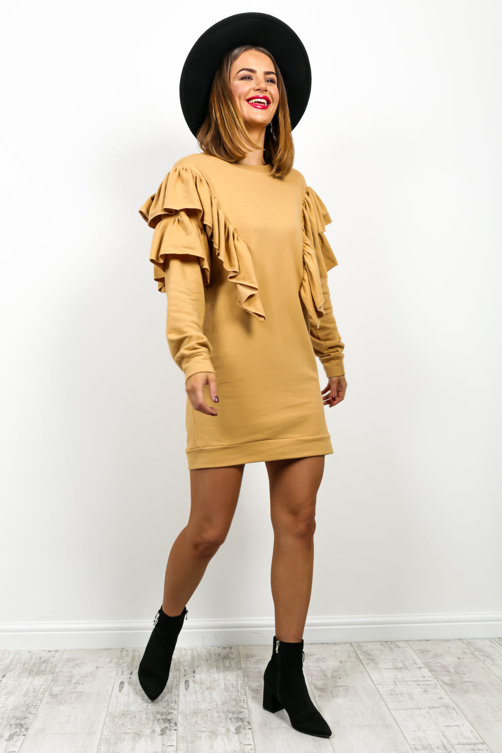 Keep It Chill - Jumper Dress In CAMEL