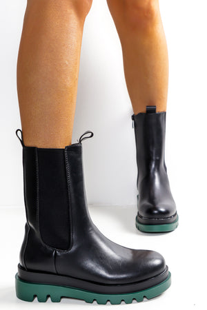 Kick Up A Fuss - Black Green Calf Boot