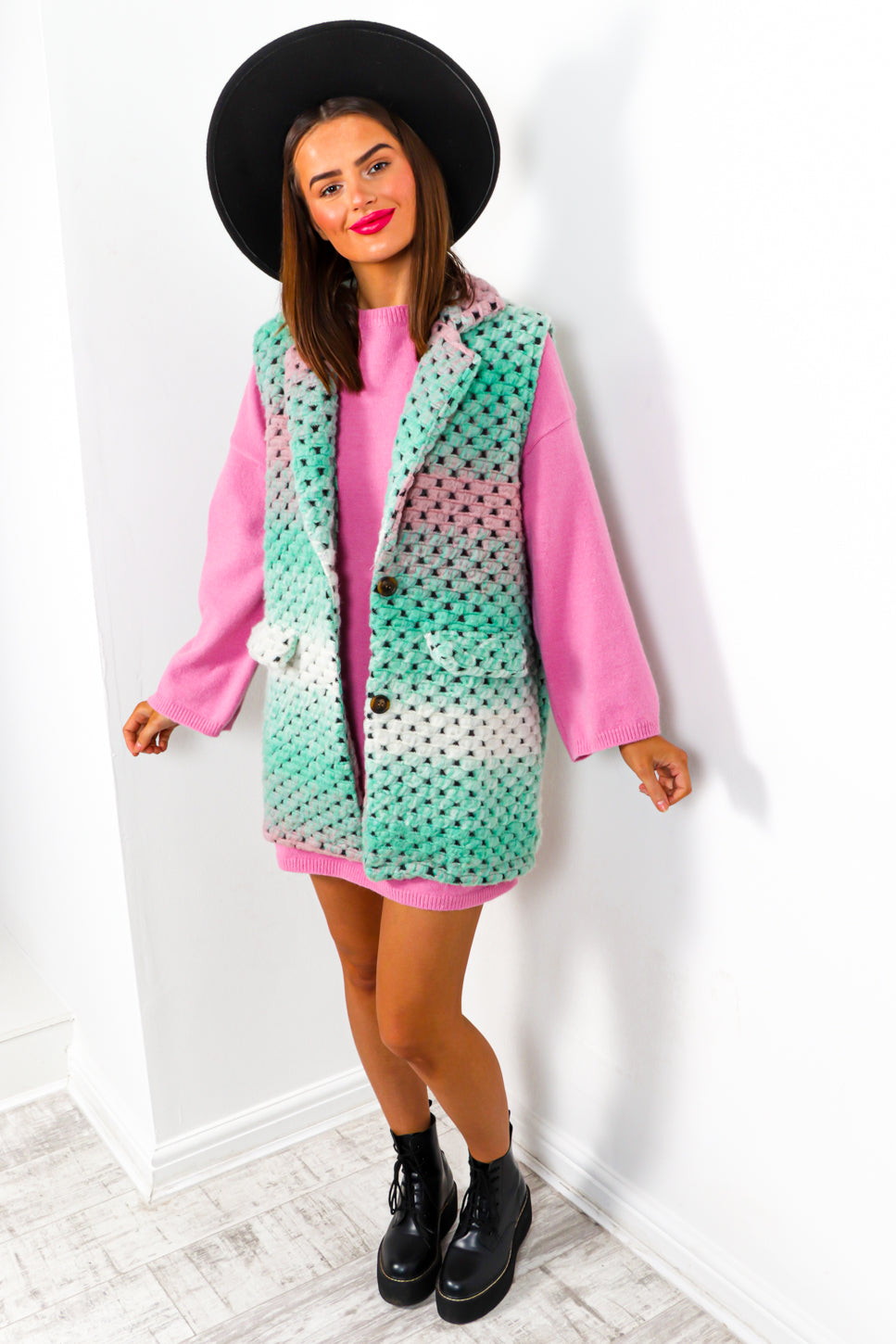 Knit So Fast - Mint Multi Knitted Gilet