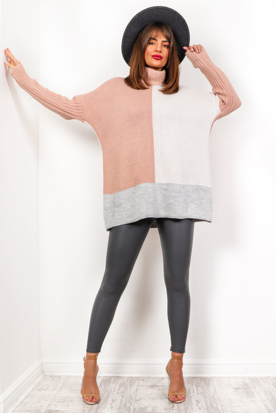Knit The Difference - Beige 2 Tone Roll Neck Jumper