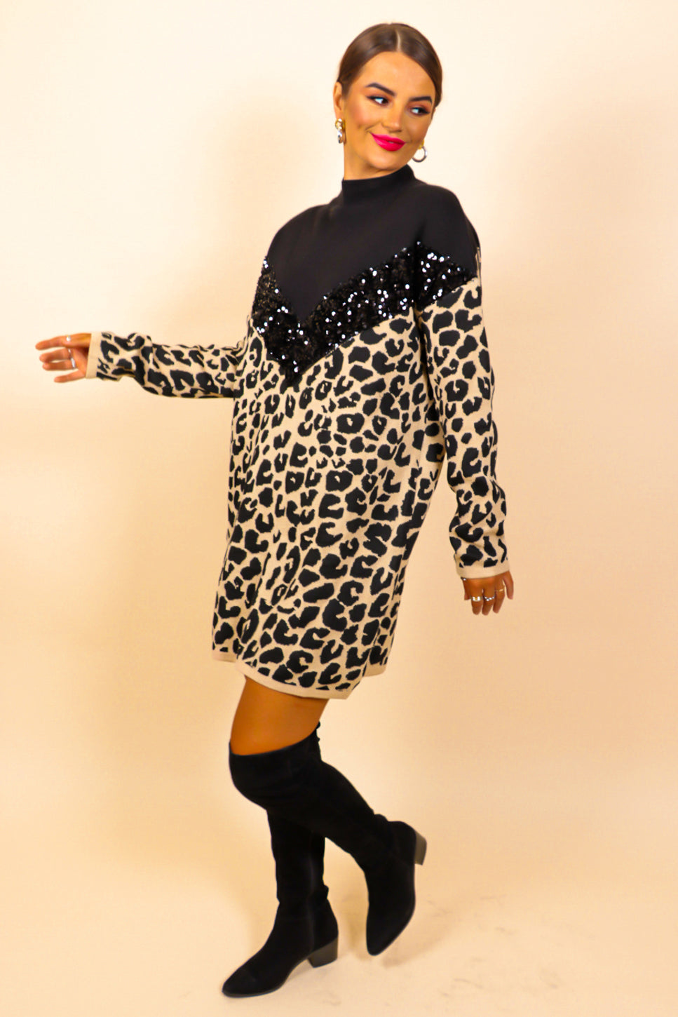 Knit's A Wild World - Black Leopard Print Jumper Dress