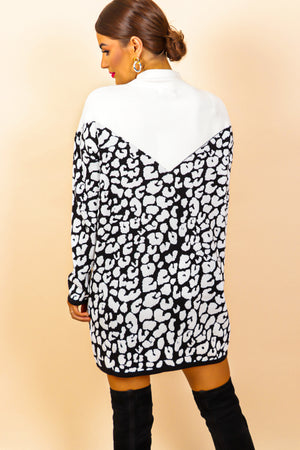 Knit's A Wild World - White Leopard Print Jumper Dress
