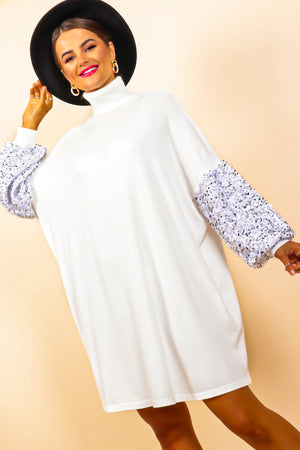 Knit's Time To Shine - White Knitted Jumper Dress