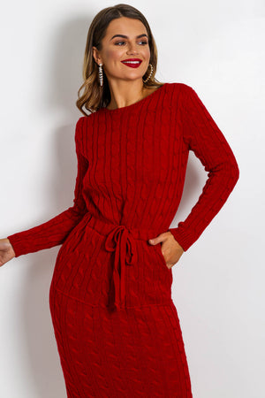 Knit's Complicated - Dress In RED